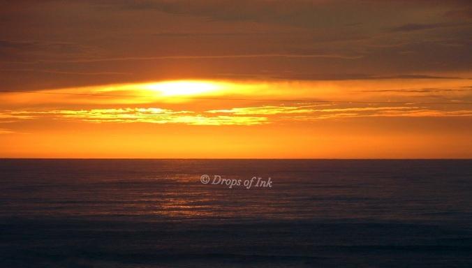 Seaside beach at sunset..