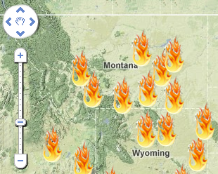 map of fires in the western us as of july 4 2012